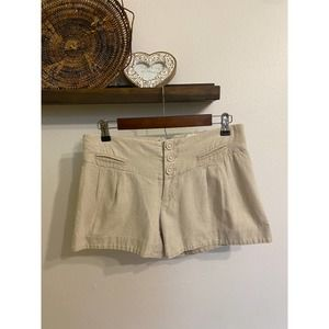Anthropologie Elevenses tan linen shorts | 2